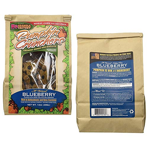 K9 Granola Factory All-Natural Blueberry Pumpkin Crunchers Baked Dog Biscuits (2 Pack)