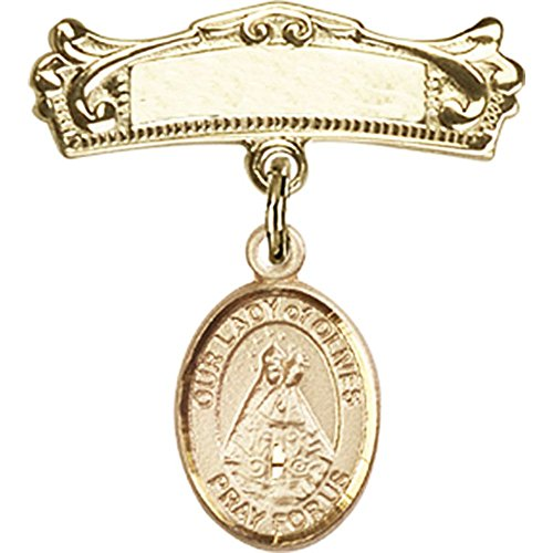 14kt Yellow Gold Baby Badge with Our Lady of Olives Charm and Arched Polished Badge Pin 7/8 X 3/4 inches by Unknown