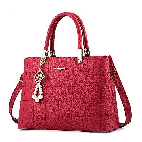 [H.Tavel Sweety Lady Women's Top-Handle Plaid Leather Handbag Fashion Satchel Wine] (Sale On Purses)