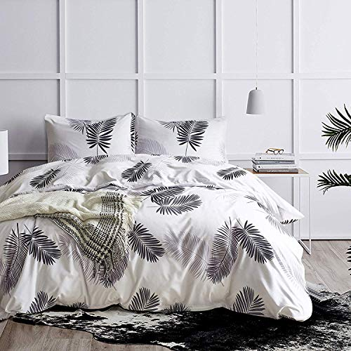 NOKOLULU Leaves Duvet Cover Set Tropical Palm Tree Fronds and Banana Tree Leaves Pattern Printed Luxury Quality Soft Breathable Hypoallergenice Durable (Queen, White)