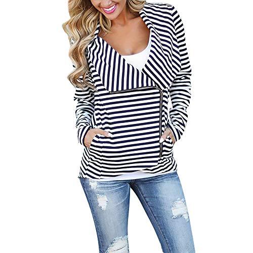 Winter Fashion Coats for Women,Luluzanm Women Stripe Drape Front Open Zipper Casual Cardigan Thin Coat Tops Outcoats