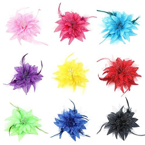 Auranso Beauty Hairclip Barrettes Mesh Net Headband Flower Fascinator Feather Hair Band
