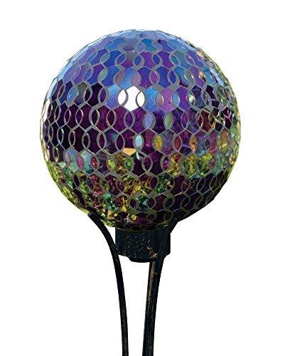 Iridescent Plum 10 Inch Glass Mortar Indoor Outdoor Garden Gazing Ball