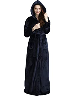 3ac756f9b2 Womens Long Hooded Bathrobe Fleece Full Length Bathrobe with Hood Winter  Sleepwear