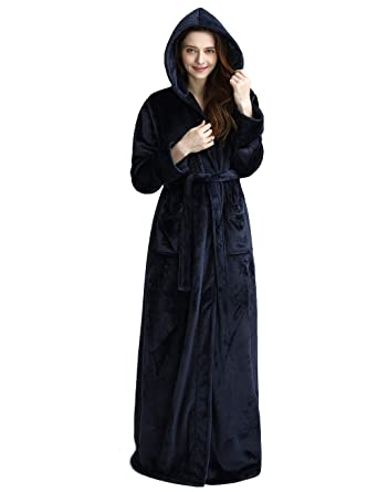 2aa24ccabe Womens Long Hooded Bathrobe Fleece Full Length Bathrobe with Hood Winter  Sleepwear