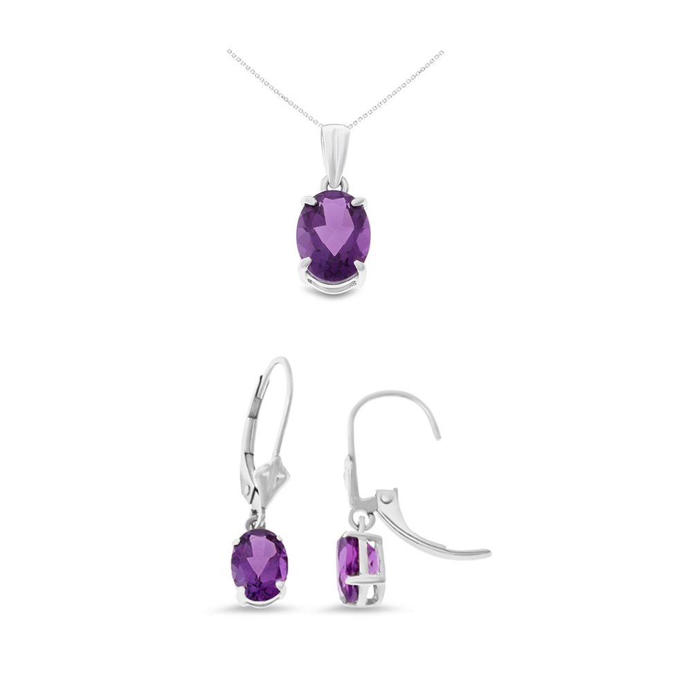 14K White Gold Oval Shaped Genuine Amethyst Leverback Earrings + Pendant With Square Rolo Chain Necklace