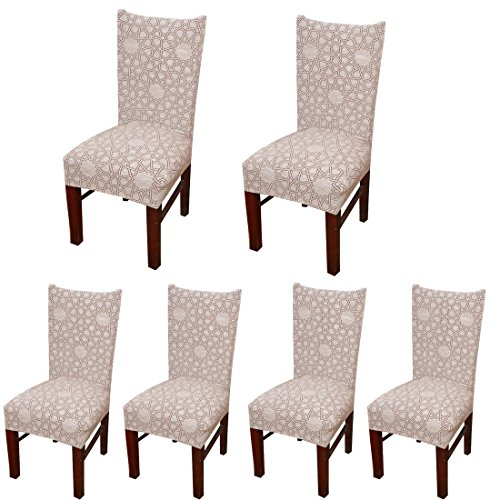 Deisy Dee Stretch Chair Cover Removable Washable for Hotel Dining Room Ceremony Chair Slipcovers Pack of 6 (R)