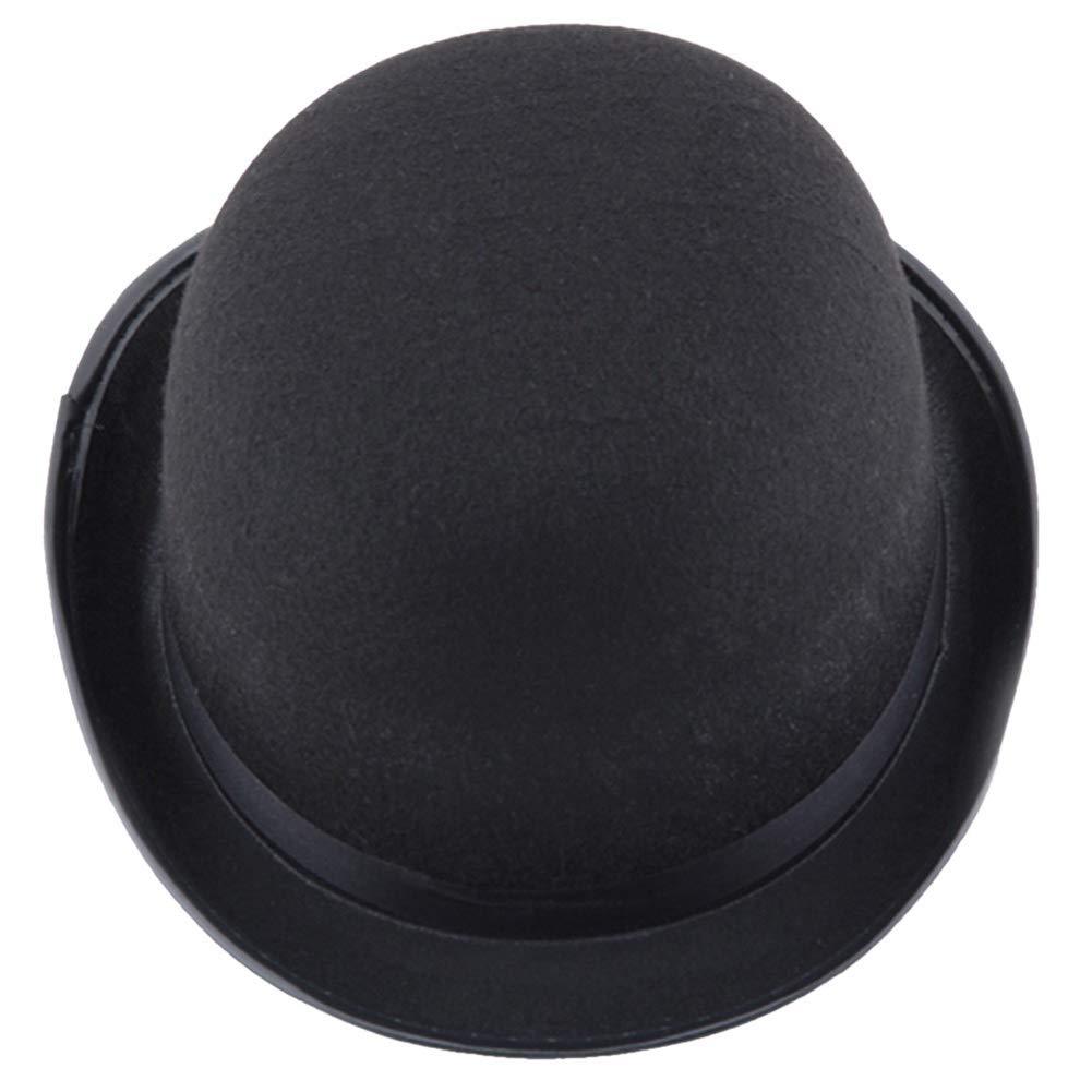 SANOMY Unisex Fashion Fedora Warm Bucket Hat Retro Topper Solid Jazz Cap Black Fedoras