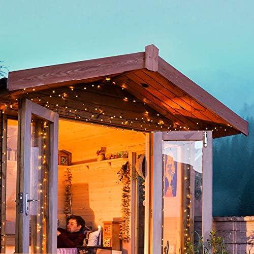 Festive Lights - Guirnalda de Luces LED (10 m, 100 ledes, Funciona con energía Solar, con Temporizador y multifunción, sin Tapas): Amazon.es: Jardín