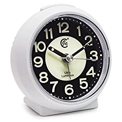 JCC Charming Luminous Small Round Handheld Size Non Ticking Quartz Bedside Desk Clock Travel Alarm Clock with Light Night, Snooze Function - Battery Operated (Matte - White)