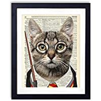 Wizard Cat, Harry Potter Kids Bedroom Wall Decor, Vintage Wall Art Upcycled Dictionary Art Print Poster For Kids Room Decor 8x10 inches, Unframed