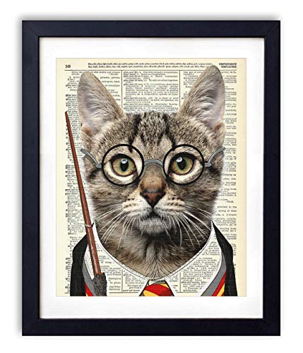 Wizard Cat, Harry Potter Kids Bedroom Wall Decor, Vintage Wall Art Upcycled Dictionary Art Print Poster For Kids Room Decor 8x10 inches, Unframed ()