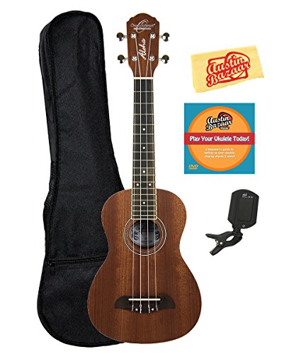 Oscar Schmidt OU2 Mahogany Concert Ukulele Bundle with Gig Bag, Tuner, Austin Bazaar Instructional DVD, and Polishing Cloth