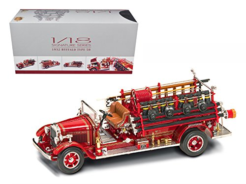 Road Signature 20188 1932 Buffalo Type 50 Fire Truck Red with Accessories 1/24 Diecast Model