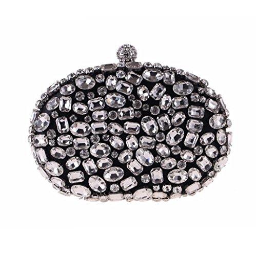 Plateado Black caja taladro y a bolsa hecha Banquete europeos bolso mano XJTNLB americanos de de 7OnX6qwnxR
