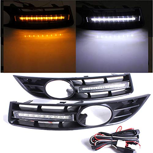 Paar Front Grille Grille 6 LED Tagfahrlicht Lamp - Exterior Parts Car Grille - 2 X LED DRL with grill surround, 2 X Wiring Harness -