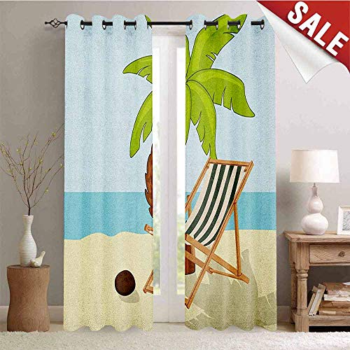 Hengshu Beach Blackout Draperies for Bedroom Cartoon Style Drawing Palm Tree Coconut and Sunbed on Sand Summer Season Pattern Thermal Insulating Blackout Curtain W84 x L108 Inch Multicolor