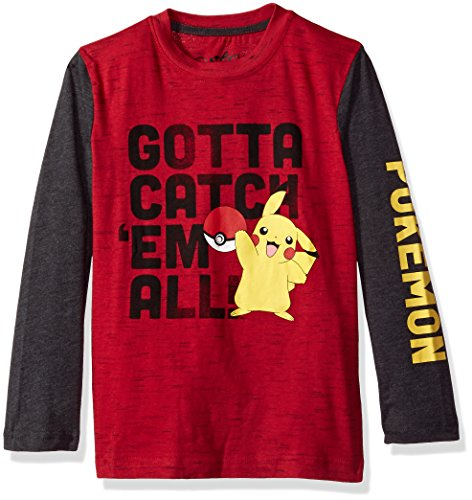 Pokemon Big Boys' Catch Em Long-Sleeve Knit Tee Photo