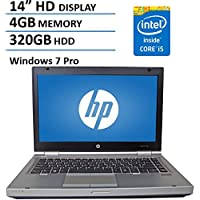 HP 14 HD Elitebook 8470P Business Laptop Computer, Intel Dual Core i5 2.6Ghz Processor, 4GB Memory, 320GB HDD, DVD, VGA, RJ45, Windows 7 Professional (Certified Refurbished)