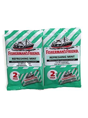 Sugar Free Fisherman's Friend Lozenges, Refreshing Mint Cough Suppressant Lozenges, 40-count Bags (2 Sets)