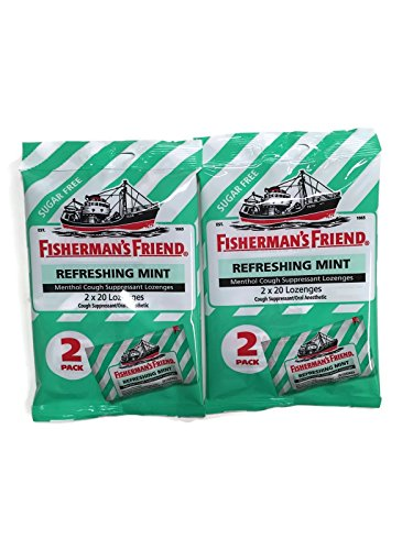 Sugar Free Fisherman's Friend Lozenges, Refreshing Mint Cough Suppressant Lozenges, 40-count Bags (2 (Bronchitis Cough Suppressant)
