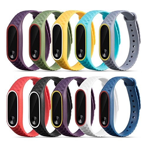 Price comparison product image Owill 10PC Multicolour Replacement Silicone Watch Bracelet Band Wrist Strap For Xiaomi Mi Band 2 (Multicolour)
