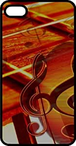 It's Music Notes Strings & Piano Keys Black Plastic Case for Apple iPhone 5 or iPhone 5s