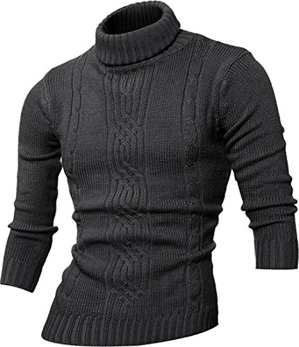 - jeansian Men's Fashion Casual Turtleneck Pullover Knitted Sweaters 88N1 Darkgray S