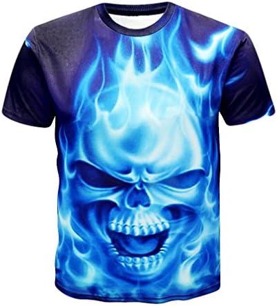 Camiseta para Hombre,RETUROM Camisa de Manga Corta de la Camiseta de la Manga de la Camiseta de la impresión del cráneo 3D para Hombre