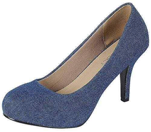 Delicacy Women's Classic Closed Toe High Heel Pump (8 B(M) US, Blue (Shoe Blue Denim)