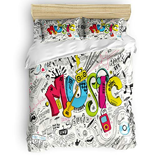 King Beding Duvet Cover Sets 4 Pieces Comforter Cover Set,Punk Style Music Posters Graffiti Pattern Bed Sheet Set for Girls Boys,Include 1 Comforter Cover 1 Bed Sheets 2 Pillow Cases ()