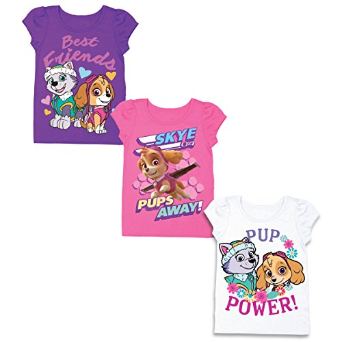 Nickelodeon Girls' Toddler Girls' Paw Patrol 3 Pack T-Shirt Bundle, Grape Violet/Hot Pink/White, 3T by Nickelodeon