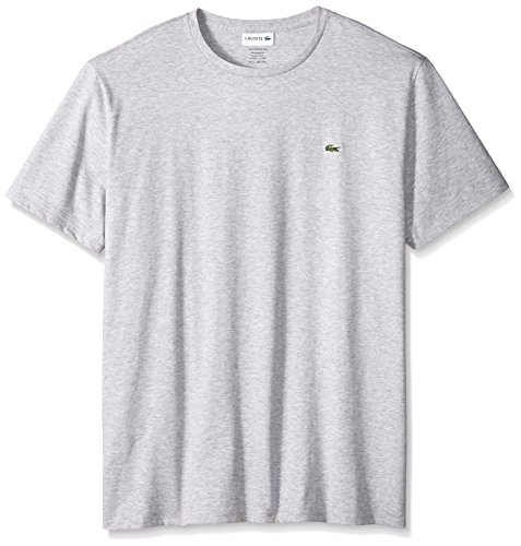Lacoste Men's Short Sleeve Crew Neck Pima Cotton Jersey T-Shirt, Silver Chine, Small ()