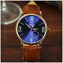 LinTimes Fashion Mens Womens Watch Quartz Analog Roman Numeral Scale Business Casual Wristwatch Brown Band Blue Dial