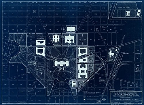 18 x 24 Blueprint Style Reproduced Old Map of: 1967Map showing properties under the jurisdiction of the Architect of the Capitol, Washington, D.C. by United States. Architect of the Capitol. (Architect Of The Capitol Washington Dc)