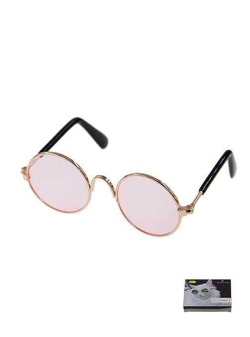 Gafas de sol redondas para gatos o perros pequeños, MMY, marco de metal,