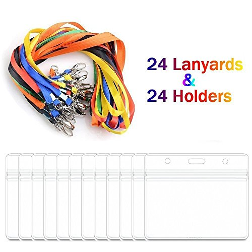 - Lanyard with ID Badge Holders Horizontal Name Badge Card Holders Bulk 24 Sets Kids and Adults (Horizontal)