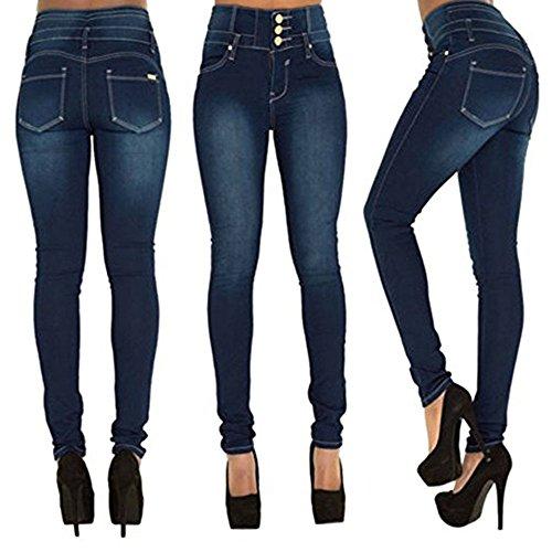 Stretch dames Pantalon haute Skinny Slim taille denim Womens Jeans Bleu filles pour pantalon Fit Jeam wTUYqzZEx