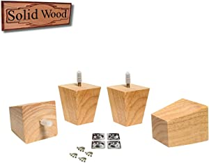 "3 Inch Wood Furniture Feet Sofa/Couch/Chair Replacement Legs Risers Square Tapered 5/16"" Bolt - Set of 4"