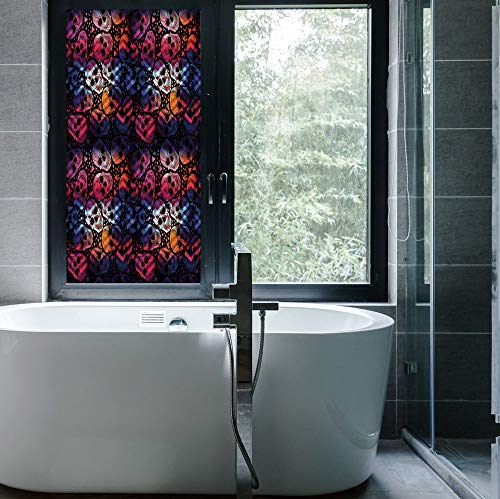YOLIYANA Frosted Window Film Stained Glass Window Film,Halloween,Work Well in The Bathroom,Mexican Sugar Skulls Stylized Digital Polygonal Geometric All,24''x48'']()