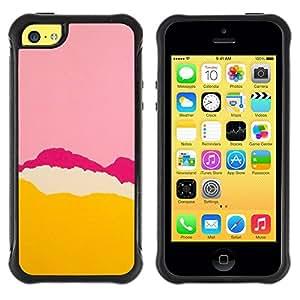 LASTONE PHONE CASE / Suave Silicona Caso Carcasa de Caucho Funda para Apple Iphone 5C / Pink Purple Tear Yellow Abstract Colors