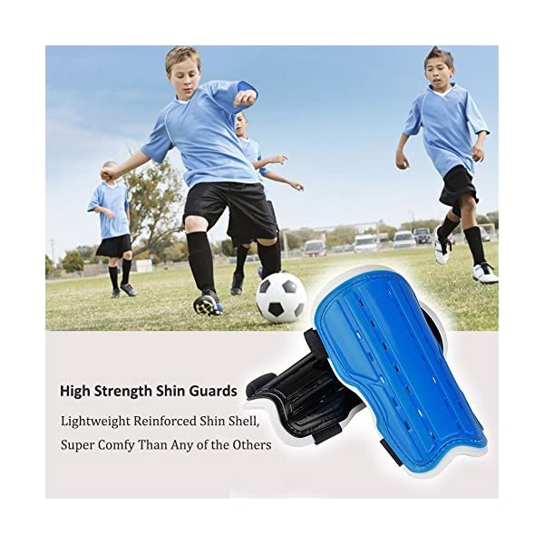 AVONOURS 2 Pair Youth Soccer Shin Guards, Kids Soccer Shin Pads Board, Lightweight and Breathable Child Calf Protective Gear Soccer Equipment for 6-10 Years Old Boys Girls Children Teenagers