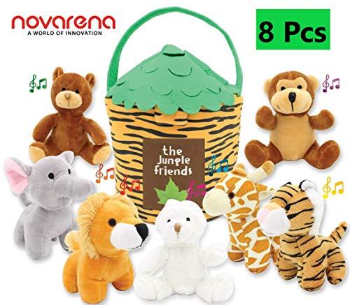 - NOVARENA Plush Talking Jungle Animals Toy Set (8 Pcs - Plays Sounds) with 12
