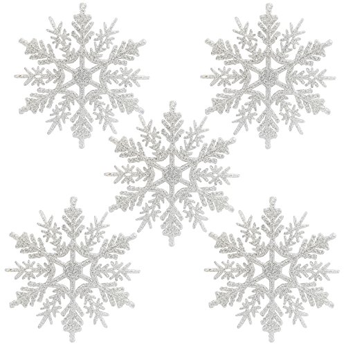 Naler Plastic Snowflake Ornaments 24pcs White Glitter Snowflake Ornaments on String Hanger for Decorating Crafting Wedding and Embellishing 4quot White