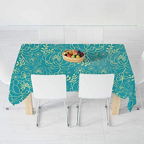 Fashionable Tablecloth,Yellow and Blue,for Secretaire Square Table Office Table,40.2 X 30.3 Inch,Classic Floral Twig Leaves Blooms Petals Essence