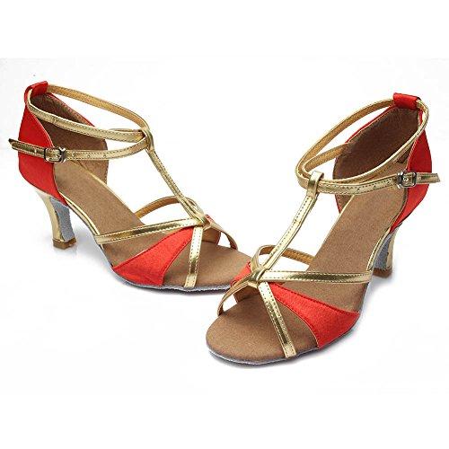 DE255 Dance Damen Standard HIPPOSEUS Tanzschuhe Rot Tanzschuhe Pailletten Ballsaal Schuhe Latein 7cm fAW1w6q