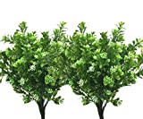 LoveniMen Artificial Shrubs, Plastic Plants Fake Bean Grass Simulation Greenery Bushes Faux Leaves Outdoor Garden Indoor Home Office Yard Verandah Wedding Decor UV Resistant 8 Pcs