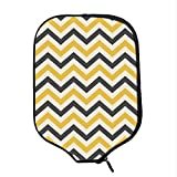YOLIYANA Yellow Chevron Durable Racket Cover,Large Zigzags in Retro Design Geometrical Horizontal Tile for Sandbeach,One Size