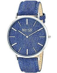 SO&CO New York Unisex 5103.2 SoHo Quartz Blue Denim Covered Genuine Leather Strap Watch