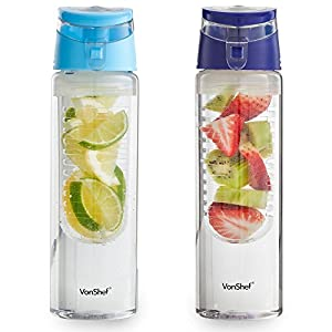 VonShef 2 Pack 24 Ounce Fruit Infuser Water Infusing Bottle Purple & Blue